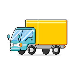 Yellow blue commercial delivery truck.