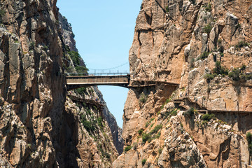 """Caminito del Rey"" mountain path along steep cliffs, Malaga (Spain)"