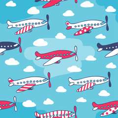 Seamless pattern of cute airplanes
