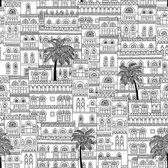 Hand drawn seamless pattern of arabesque houses and palm trees