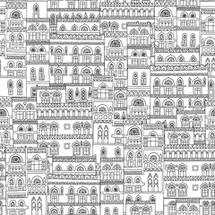 Hand drawn seamless pattern of arabesque houses