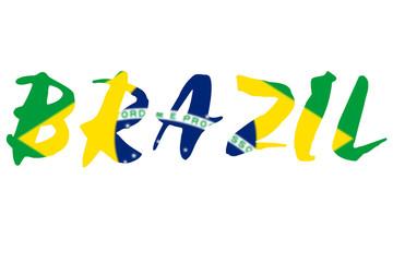 Word BRAZIL over national flag of Brazil