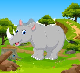 funny rhino cartoon posing in the jungle with landscape background
