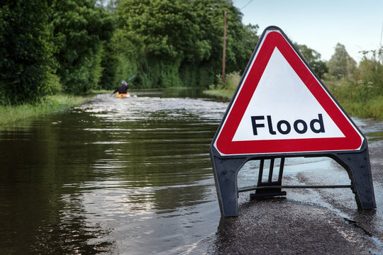 flooded road in essex