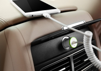 Power plug phone in car