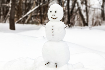 Snowman with tree branches