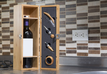 Wine, wooden box and accessories