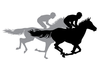 Two jockeys riding horses.