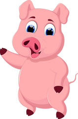 Cute pig cartoon possing