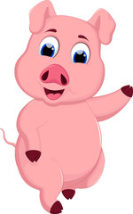 Cute pig cartoon running