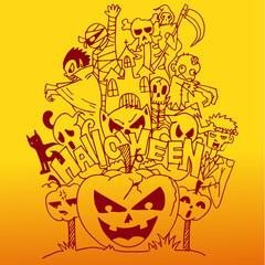 Halloween doodle art with orange backgrounds