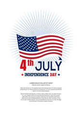 Independence Day design. Fourth of July. USA waving flag and greeting inscription - 4th July, Independence Day. Vector illustration on a white background