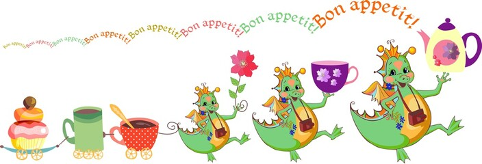 Happy dragons wish bon appetit. Cute card with dragons, teacups and cupcake train. Vector illustration.