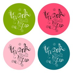 Thank you card collection. Vector calligraphy on bright background. Template for invitation and greeting design