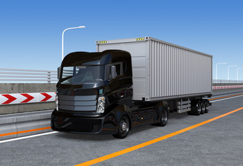 Black container truck on the highway. 3D rendering image.