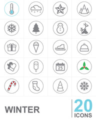 Line icons WINTER vector design