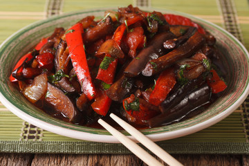Salad with eggplant and other vegetables in the Korean-style close-up. horizontal