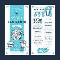 Fastfood restaurant menu template design on chalkboard background vector illustration. Cafe food brochure. Vintage menu design.