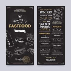 Fastfood restaurant menu template design on chalkboard background vector illustration. Cafe food brochure. Vintage menu design.
