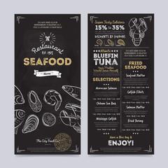 Seafood restaurant cafe menu template design on chalkboard background vector illustration. Cafe food brochure. Vintage menu design.