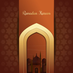 Greeting card for the holy month of Ramadan. Mosques silhouette on sunset sky background. Gold inscription - Ramadan Kareem. Vector illustration