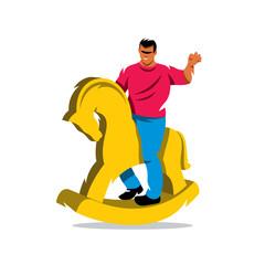 Vector Rider on horse Cartoon Illustration.