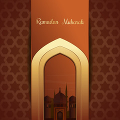 Greeting card for the holy month of Ramadan. Mosques silhouette on sunset sky background. Gold inscription - Ramadan Mubarak. Vector illustration