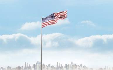 Composite image of low angle view of american flag