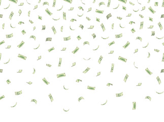 Finance concept. Money rain. Falling hundred dollar banknotes isolated on white background. 10 EPS vector illustration