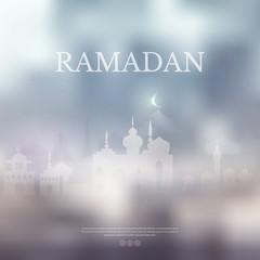 Ramadan Kareem islamic purple background with Lamp and silhouett