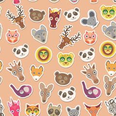 Set of funny animals muzzle seamless pattern. pink peach background. Vector