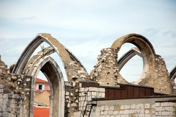 The ruins of the Carmo Church destroyed in the earthquake 1755 Lisbon, Portugal