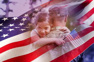 Composite image of portrait of girl hugging army officer father