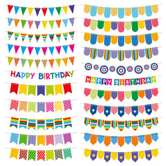 Colorful bunting flags and garlands. Birthday and party vector decoration. Color pattern flag on string, carnival decoration flag hanging illustration