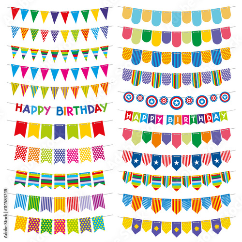 """""""Colorful bunting flags and garlands. Birthday and party ..."""