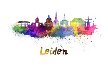 Leiden skyline in watercolor splatters with clipping path