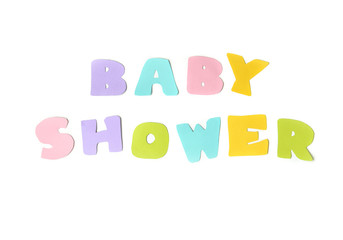 Baby shower on white background - isolated