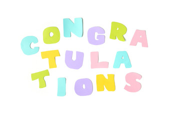 Congratulations text on white background - isolated