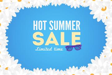 Hot summer sale banner. Vector discount banner template. Modern typography label. Funny frame design.