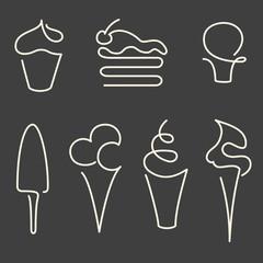 Set of one line sweets illustration