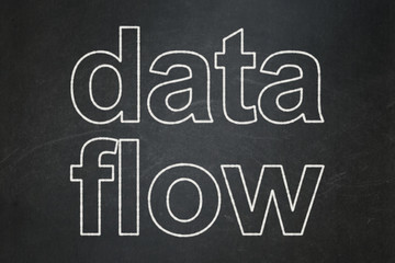 Information concept: Data Flow on chalkboard background