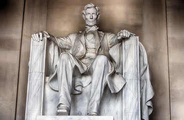 Fototapete - Lincoln statue at Memorial in Washington DC