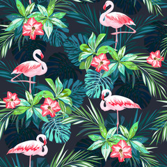 Tropical summer seamless pattern with flamingo birds and  flowers
