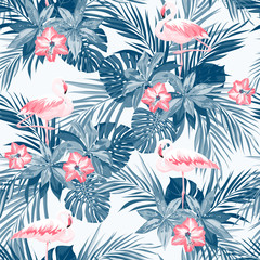 Indigo tropical summer seamless pattern with flamingo birds and exotic flowers