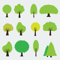 Set of trees icon style. Isolated vector with flat color style