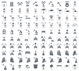 Set of camping equipment pictograms. Vector illustration
