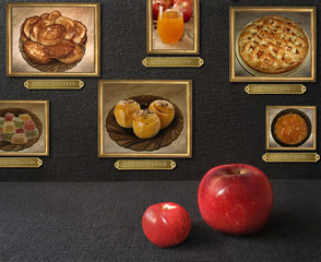 Apples family is viewing the paintings. Dishes made from apples are shown in these pictures. Life after death.