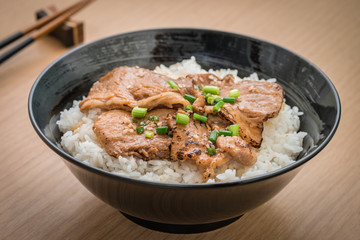 Roasted pork with japanese rice in bowl