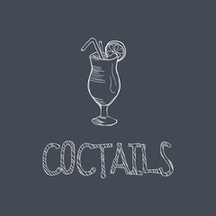 Cocktail Sketch Style Chalk On Blackboard Menu Item