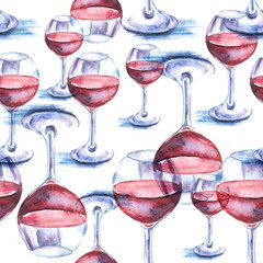Seamless vintage watercolor pattern.    Illustration red wine in the glass. Glass of wine. Figure executed in watercolor